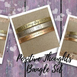 Jewelry - Positive Thoughts Bangles -Set of Three